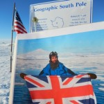 Photo of photo of author 'at the South Pole' in spirit, taken by Dr Dale Mole