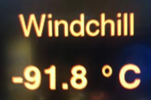 Mars on ice: Minus 91 Degrees Celsius Windchill