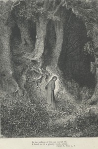 Gustave Dore's engravings illustrated the Divine Comedy (1861–1868); here Dante is lost in Canto 1 of the Inferno