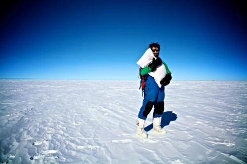 Creature comforts- Concordia Crew Member Sebastien Aubin basking in the summer Antarctic sun (A.Kumar)