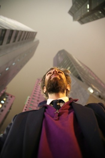 Self Portrait by the author - Looking up to Hong Kong's Sky scrapers (A.Kumar)